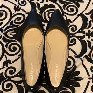 NEW! Marc Fisher Black Pointed Toe Leather Flats!